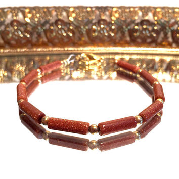 Black Friday Sale Vintage Goldstone Hand Beaded Bracelet