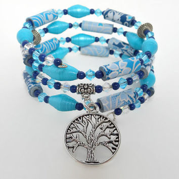 Paper Bead Blue Turqoise Silver Memory Wire Bracelet, Paper Bead Bracelet, Tree of Life, Wrap Bracelet, Handmade Bracelet, Beaded Bracelet