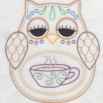 Owl with Cuppa Vintage Styled EMBROIDERED Women's Apron Great Mother's Day Gift