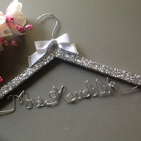 Glitter Bride Custom Wire Wedding Hanger for the Princess and her special day. Great wedding engagement gift.