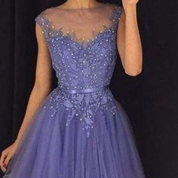 Purple Short Homecoming Dress Graduation Dresses