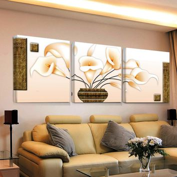 3 Piece Picture Modular Flowers Painting Flower Hd Print Canvas Wall Abstract Art Cuadros Decoration Pictures Bilder