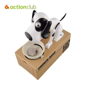 Actionclub Mechanical Adorable Kid Coin Bank Saving Box Catoon Puppy Hungry Robotic Dog Money Box Collection Piggy Bank