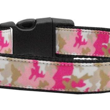 Nylon Collar and Leash: Pink Camo (Size Med & Lg)