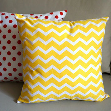 SALE Corn Yellow Chevron Pillows yellow chevron cushion yellow decorative throw pillows geometric pillow Kid's room Zippered throw pillows