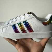 """Adidas Superstar"" Fashion Casual Unisex Rainbow Stripe Shell Head Plate Shoes Couple Sneakers Small White Shoes"