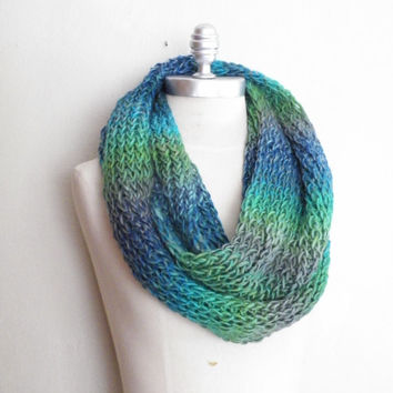 Knit Scarf, Multicolor, Winter Fashion Knitwear, Womens Accessories, Shades of Blue and Green with Gray Wool Blend