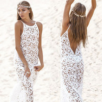 White Crochet Strappy Backless Beach Dress