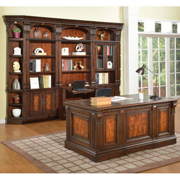 Corsica Library 5 Piece Wall Executive Desk Antique Vintage Dark Chocolate