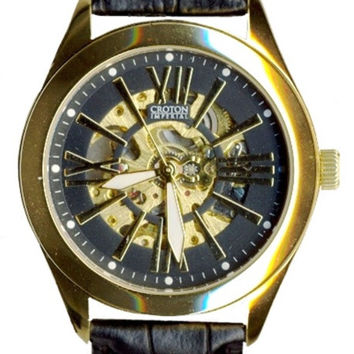 Croton Mens Stainless steel Goldtone Goldtone Skeleton Automatic Watch