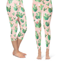 Cactus In Bloom Retro - Capri & Full Length Leggings in XS-XL - Premium, Compression Fit, Performance Fabric 000724