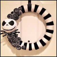 JACK SKELLINGTON 14inch Nightmare Before Christmas Wreath Halloween Wreath Christmas Wreath Halloween Decor Fall Decor Fall Wreath Fall Door
