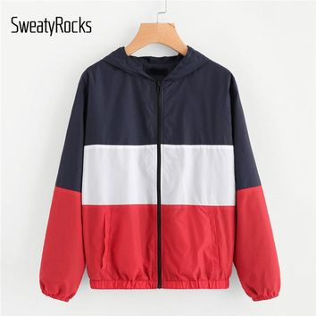 SweatyRocks Cut And Sew Hoodie Windbreaker Jacket 2018 New Fashion Spring Colorblock Zipper Woman Top Multicolor Pocket Jacket