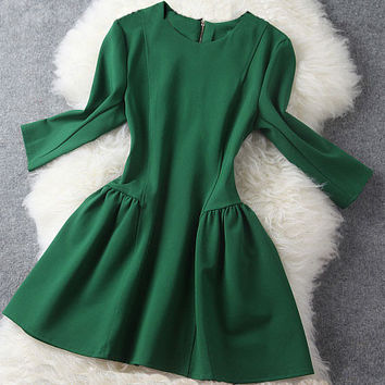 Graceful Slim Bubble Dress/Middle Long Sleeve Skirt