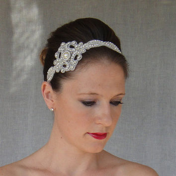 Wedding Headband, Bridal Headband, Bridal Headpiece, Vintage Bridal Headband, Bridal Halo, Bridal Ribbon Headband, 1920s Bridal