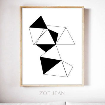 geometric print geometric art Scandinavian modern print minimalist decor black and white abstract art instant downloadable print