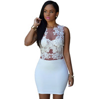 White Sizzling Floral Lace Mini Club Wedding Party Dress