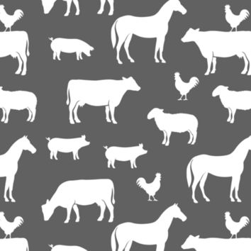 farm animal medley - grey and pink coordinate fabric - littlearrowdesign - Spoonflower