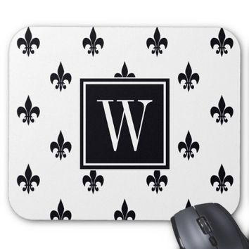 Simple Black & White Fleur De Lis Pattern Monogram Mouse Pad