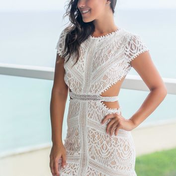 Off White Lace Short Dress with Open Back