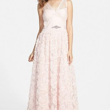 Women's Adrianna Papell Embellished Petal Chiffon Ballgown,