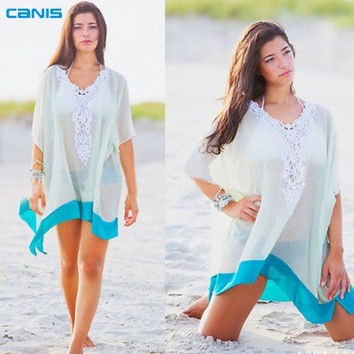 Lace Beach White With Turquoise Trim Swimsuit Coverup