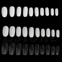 500 PCs Oval Full Round Acrylic French False Fake Nail Tips White Natural Clear New