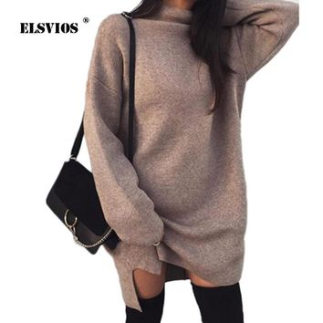 ELSVIOS Solid Long Sleeve Loose Pullover Dresses 2018 Autumn winter Turtleneck Warm Knitted Sweater Dress women Casual Vestidos