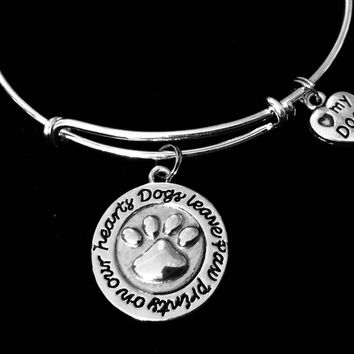 Love My Dog Jewelry Dogs Leave Paw Prints on our Heart Charm Adjustable Bracelet Silver Expandable Charm Bangle Animal Lover One Size Fits All Gift