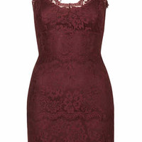 Lace Bodycon Tunic - Berry Red