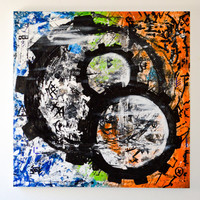 Gears of Time an original abstract acrylic painting by FQ Studios, urban art, industrial art, gears, blue, orange