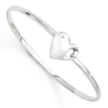 Rhodium Plated Sterling Silver & Diamond 16mm Heart Bangle Bracelet