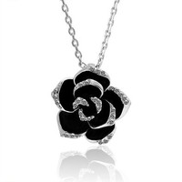 MLOVES Women's Cute Little Black Rose Silver Pendant Necklace