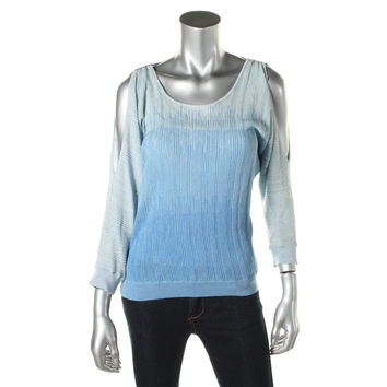 INC Womens Metallic Ribbed Knit Pullover Sweater