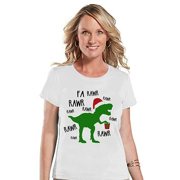 Christmas Dinosaur - Funny Christmas T-Shirt - Ladies Holiday Tee - Winter Tee - White T Shirt - Holiday T Rex Shirt - Holiday Gift Idea
