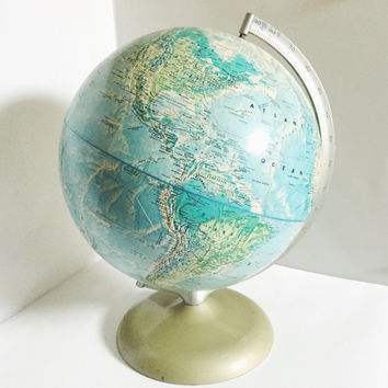 "Vintage, World Portrait, Globe, Rand McNally,  12"" diameter - Collectible, Home Decor, Nursery Decor"
