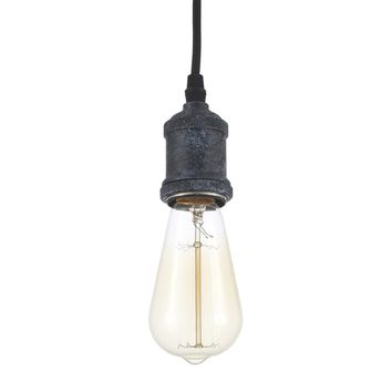 Edison Simple Pendant Lighting Industrial Vintage Style Fixture Weathered Zinc Black (ED268P-BK)