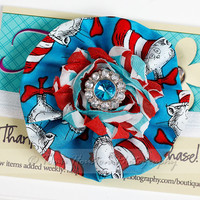 Ruffle Flower Headband, Dr. Seuss, Cat in the Hat, Blue Red, Toma's Tutus and Things