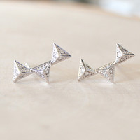 Pyramid Stud Earrings - Silver