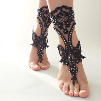Free ship Black Barefoot Sandals, handmade, french lace, shoes, Gothic, Wedding, Victorian Lace, Sexy, barefoot sandals