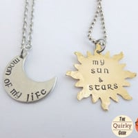 Game of Thrones Sun & Moon Necklaces - Hand stamped necklace of your choice