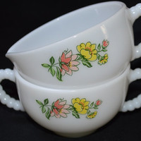 Floral Milk Glass Sugar and Creamer Set