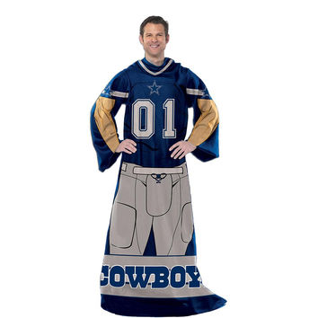 Dallas Cowboys NFL Uniform Comfy Throw Blanket w- Sleeves