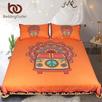 BeddingOutlet Hippie Vintage Car Bedding Set Orange Mandala Quilt Cover Peace Design Bed Set Bohemian a Mini Van Bedclothes 3pcs