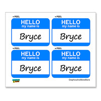Bryce Hello My Name Is - Sheet of 4 Stickers