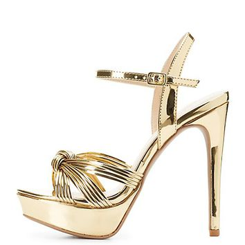 Metallic Platform Dress Sandals
