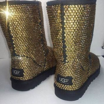 DCCK8X2 Custom Classic Ugg Boots, Black Classic Uggs, Swarovski Uggs, Uggs, Ugg Boots, Bedazzl