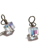 Swarovski Charms - 8mm Crystal AB Cube Charm in Antique Brass with Jump Ring - Sold Individually