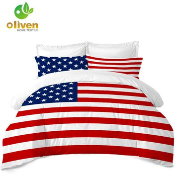 Classic American Flag Bedding Set Striped Star Print Duvet Cover Set Twin Full Queen King Quilt Cover Pillowcase 3Pcs B30