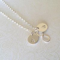 Infinty Best Friend Necklace with Initials Sterling Silver--Gift for Best Friend